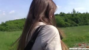 Bitch STOP - Czech brunette rides big cock outdoors