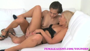 FemaleAgent Slim Russian takes big dildo on agents couch