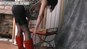 Sexy Milf loves to tease in sheer stockings and slutty red leather boots