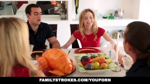 FamilyStrokes - Step Sister Sucks And Fucks Brother During Thanksgiving Dinner
