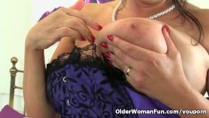 British milf Lulu fondles her big tits and fucks herself