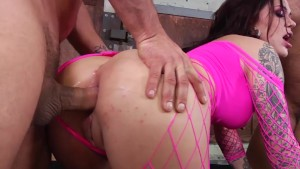 Karmen gets hard rough double penetration fucking