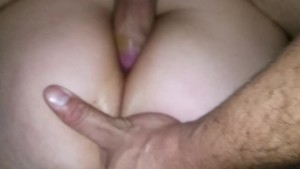 Anal fucking and cum inside her ass hole