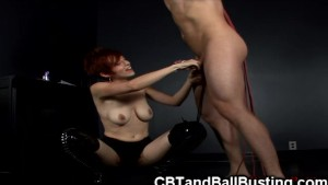 CBT slave gets cock cage and anal hook