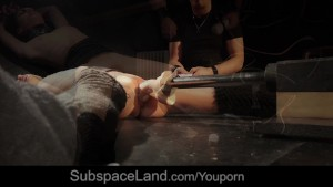 Russian beauty sensually bondage fuck machine dominated