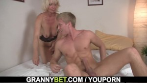 Blonde old women rides his sti