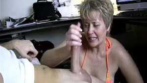 Milf Helps Lucky Guy s Cock Spurt With Jizz