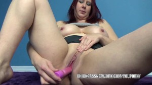 Chubby redhead Lia Shayde lifts her skirt and does a dildo