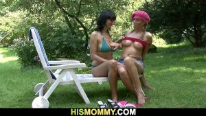 He leaves and mom toying his GF s pussy
