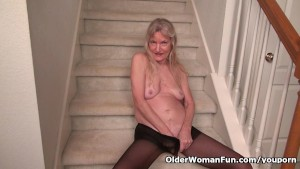 Granny Claire gets naughty on the stairs