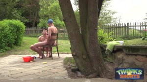 Hung twinks play wet outdoors