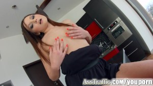 Asstraffic brunette gets all h