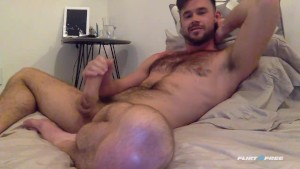 Mike De Marko Beating His Big Cock in Bed