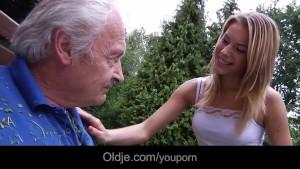 Young school girl deepthoat old cock sucking cum swallow for fat grandpa