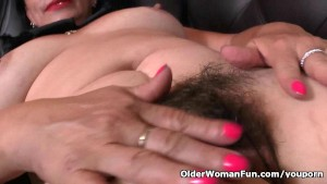 Latina milf Karina peels off her nylons and works her pussy