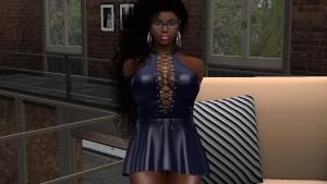 Une jolie black en mini robe bleue