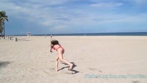 Hot Busty Teen Kimber Sucks Cock in Car at the Beach