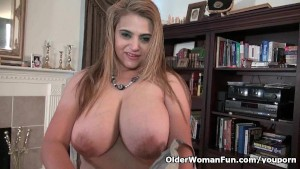Busty milf Mia Jones loves str