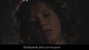 Teen slave in bondage sucking dick and cum
