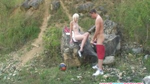 Skinny blonde bitch having hard sex on the mountain.mp4
