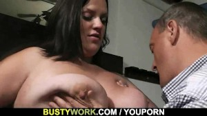Busty lady in fishnets rides him after blowjob
