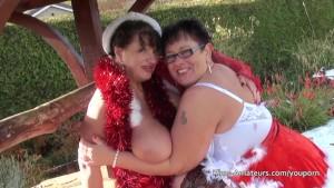 Lesbian grannies in Santa outf
