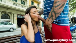 The young Alicia Poz sucks a guy in public and fucks at home !
