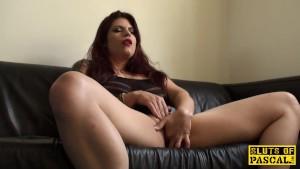 Redhead sub slut masturbating