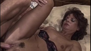 Brunette Old Lady Sucking Cock