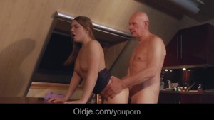 Slutty Teen Housewife Fucked Hard Swallows Old Hubby Cumshot