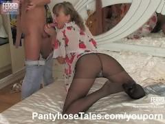 Sex in black pantyhose