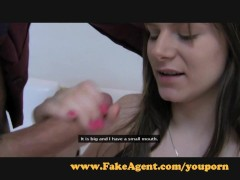 FakeAgent Shy girl with amazing 18yr old breasts makes me cum hard.