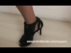 Alessandra Blondes black shiny top