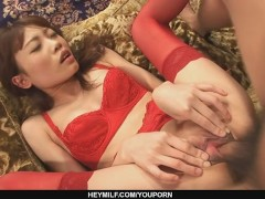 Cock humping skinny and long legged babe in red stockings on the couch