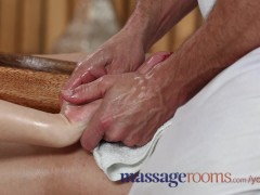 Massage Rooms Petite woman has tits oiled and rides her masseur's big dick