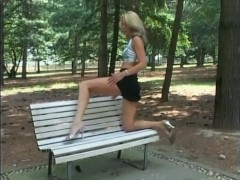 Horny blonde posing and stripping - Telsev