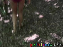 Girlfriends Blonde and brunnette eat shaved pussy in public woods
