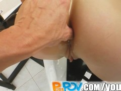 Pure Pov 18 year old innocent school girl lets me jizz on her