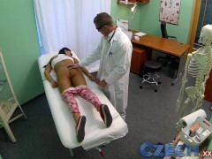Czech Patients bad back doesn't stop doctor bending her over the table to expose her wet pussy
