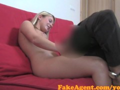 FakeAgent Shy blonde babe tricked into taking Huge cock in Casting interview