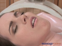 Massage Rooms Teen lesbians oil up their young firm shaven pussy holes