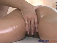 Massage Rooms Sexy blonde masseuse slips her fingers in young clients slit
