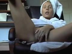 Hidden camera under desk caught mother masturbating