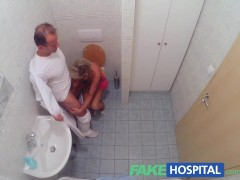 FakeHospital Slim blonde gets creampied after fucking in the toilet and the doctors office