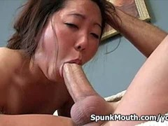 Horny college girl Leili Yang is excited on her first ever cum facial!