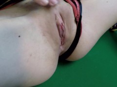 My submissive amateur wife, hard spank her pussy on billard