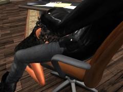 Fred Adjani qui baisse Mumu en mini robe moulante dans son bureau