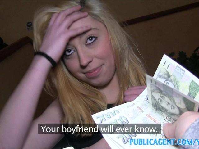 image Publicagent innocent teen bends over for cash