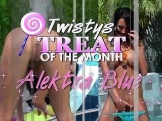 Alektra blue dildos by the pool...