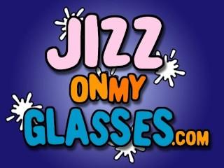 Black Babe Gets White Cum On Glasses...